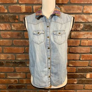 Life in Progress Chambray Embroidered Tank Top